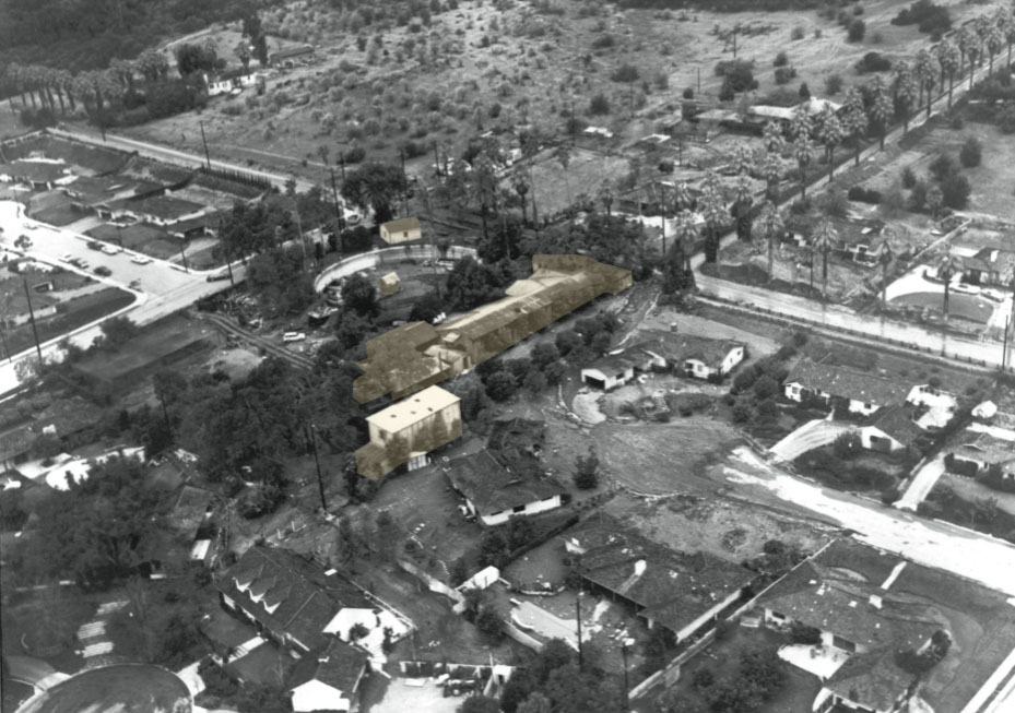 Aerial View of 1969 Flooding in Northern Glendora. Corner of Palm Drive and Live Oak Avenue. Showing Rubel Pharms, once the Albourne Rancho