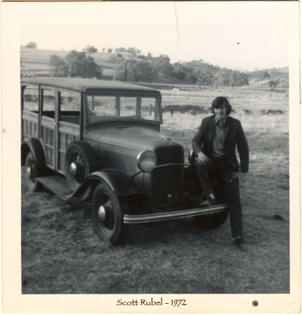 Scott Rubel in 1972 with 1934 Ford Woody. Midland School's Mascot.